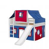 Home Low Loft by Maxtrix Kids: White, Curved, Twin, Slide, 21-Blue / Red