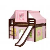 Home Low Loft by Maxtrix Kids: Chestnut, Slats, Twin, Slide, 25-Pink / Yellow / Green