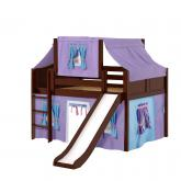 Home Low Loft by Maxtrix Kids: Chestnut, Curved, Twin, Slide, 27-Purple / Blue / Hot Pink