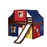 Home Low Loft by Maxtrix Kids: Chestnut, Curved, Twin, Slide, 29-Red / Blue / Yellow