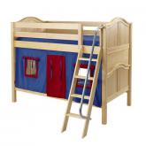 HotHot Low Bunk by Maxtrix Kids: Natural, Curved, Twin, 21-Blue / Red