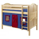 HotShot Low Bunk by Maxtrix Kids: Natural, Curved, Twin, 21-Blue / Red