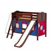 Laugh Low Bunk by Maxtrix Kids: Chestnut, Curved, Twin, Slide, 21-Blue / Red