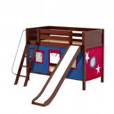Laugh Low Bunk by Maxtrix Kids: Chestnut, Panel, Twin, Slide, 21-Blue / Red
