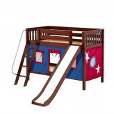 Laugh Low Bunk by Maxtrix Kids: Chestnut, Slats, Twin, Slide, 21-Blue / Red