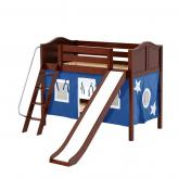 Laugh Low Bunk by Maxtrix Kids: Chestnut, Curved, Twin, Slide, 22-Blue / White