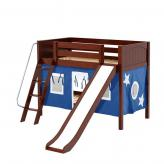 Laugh Low Bunk by Maxtrix Kids: Chestnut, Panel, Twin, Slide, 22-Blue / White