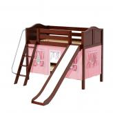 Laugh Low Bunk by Maxtrix Kids: Chestnut, Curved, Twin, Slide, 23-Pink / White