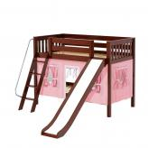 Laugh Low Bunk by Maxtrix Kids: Chestnut, Slats, Twin, Slide, 23-Pink / White