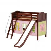 Laugh Low Bunk by Maxtrix Kids: Chestnut, Curved, Twin, Slide, 25-Pink / Yellow / Green