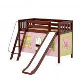 Laugh Low Bunk by Maxtrix Kids: Chestnut, Slats, Twin, Slide, 25-Pink / Yellow / Green