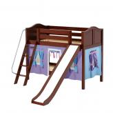 Laugh Low Bunk by Maxtrix Kids: Chestnut, Curved, Twin, Slide, 27-Purple / Blue / Hot Pink