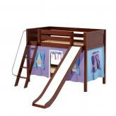 Laugh Low Bunk by Maxtrix Kids: Chestnut, Panel, Twin, Slide, 27-Purple / Blue / Hot Pink