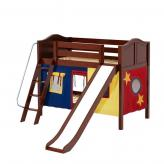 Laugh Low Bunk by Maxtrix Kids: Chestnut, Curved, Twin, Slide, 29-Red / Blue / Yellow
