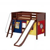Laugh Low Bunk by Maxtrix Kids: Chestnut, Panel, Twin, Slide, 29-Red / Blue / Yellow