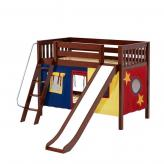 Laugh Low Bunk by Maxtrix Kids: Chestnut, Slats, Twin, Slide, 29-Red / Blue / Yellow