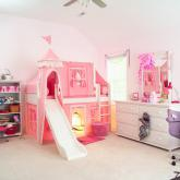 Marvelous Low Loft by Maxtrix Kids: White, Panel, Twin, Slide, 23-Pink / White