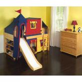Marvelous Low Loft by Maxtrix Kids: Natural, Panel, Twin, Slide, 29-Red / Blue / Yellow
