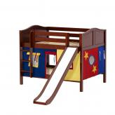 Rock Low Bunk by Maxtrix Kids: Chestnut, Curved, Full, Slide, 29-Red / Blue / Yellow