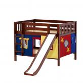 Rock Low Bunk by Maxtrix Kids: Chestnut, Slats, Full, Slide, 29-Red / Blue / Yellow