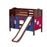 Smile Low Bunk by Maxtrix Kids: Chestnut, Curved, Twin, Slide, 21-Blue / Red
