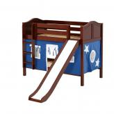 Smile Low Bunk by Maxtrix Kids: Chestnut, Curved, Twin, Slide, 22-Blue / White
