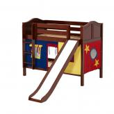 Smile Low Bunk by Maxtrix Kids: Chestnut, Curved, Twin, Slide, 29-Red / Blue / Yellow
