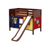 Smile Low Bunk by Maxtrix Kids: Chestnut, Panel, Twin, Slide, 29-Red / Blue / Yellow