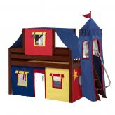 Spice Low Loft by Maxtrix Kids: Chestnut, Panel, Twin, 29-Red / Blue / Yellow