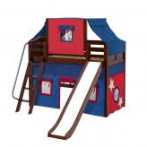 Sweet Mid Loft by Maxtrix Kids: Chestnut, Curved, Twin, Slide, 21-Blue / Red