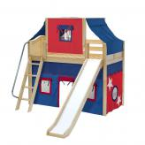 Sweet Mid Loft by Maxtrix Kids: Natural, Curved, Twin, Slide, 21-Blue / Red