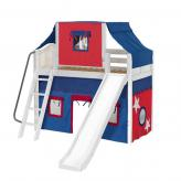 Sweet Mid Loft by Maxtrix Kids: White, Curved, Twin, Slide, 21-Blue / Red