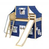 Sweet Mid Loft by Maxtrix Kids: Natural, Curved, Twin, Slide, 22-Blue / White