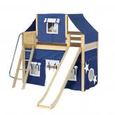 Sweet Mid Loft by Maxtrix Kids: Natural, Panel, Twin, Slide, 22-Blue / White