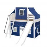 Sweet Mid Loft by Maxtrix Kids: White, Curved, Twin, Slide, 22-Blue / White