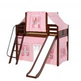 Sweet Mid Loft by Maxtrix Kids: Chestnut, Curved, Twin, Slide, 23-Pink / White