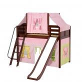 Sweet Mid Loft by Maxtrix Kids: Chestnut, Curved, Twin, Slide, 25-Pink / Yellow / Green