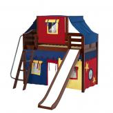 Sweet Mid Loft by Maxtrix Kids: Chestnut, Curved, Twin, Slide, 29-Red / Blue / Yellow