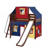 Sweet Mid Loft by Maxtrix Kids: Chestnut, Panel, Twin, Slide, 29-Red / Blue / Yellow