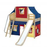 Sweet Mid Loft by Maxtrix Kids: Natural, Curved, Twin, Slide, 29-Red / Blue / Yellow