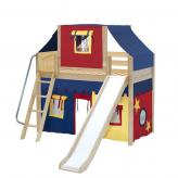 Sweet Mid Loft by Maxtrix Kids: Natural, Panel, Twin, Slide, 29-Red / Blue / Yellow
