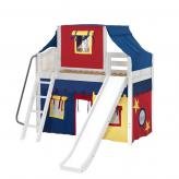 Sweet Mid Loft by Maxtrix Kids: White, Curved, Twin, Slide, 29-Red / Blue / Yellow
