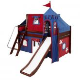 Wow Low Loft by Maxtrix Kids: Chestnut, Panel, Twin, Slide, 21-Blue / Red