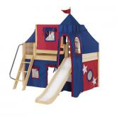 Wow Low Loft by Maxtrix Kids: Natural, Panel, Twin, Slide, 21-Blue / Red
