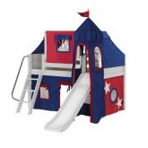 Wow Low Loft by Maxtrix Kids: White, Panel, Twin, Slide, 21-Blue / Red
