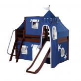 Wow Low Loft by Maxtrix Kids: Chestnut, Panel, Twin, Slide, 22-Blue / White