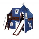 Wow Low Loft by Maxtrix Kids: Chestnut, Slats, Twin, Slide, 22-Blue / White