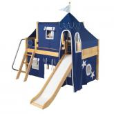 Wow Low Loft by Maxtrix Kids: Natural, Panel, Twin, Slide, 22-Blue / White