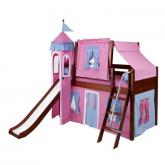 Wow Low Loft by Maxtrix Kids: Chestnut, Panel, Twin, Slide, 28-Hot Pink / Blue / Purple