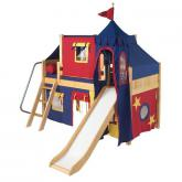 Wow Low Loft by Maxtrix Kids: Natural, Panel, Twin, Slide, 29-Red / Blue / Yellow